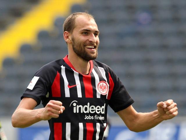 Eintracht Frankfurt striker Bas Dost celebrates scoring in June 2020