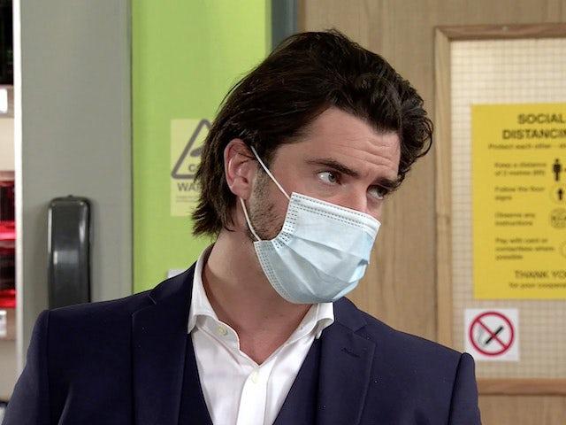 Adam on Coronation Street's first episode on September 28, 2020