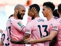 Sheffield United's David McGoldrick celebrates scoring with Max Lowe against Burnley in the EFL Cup on September 17, 2020