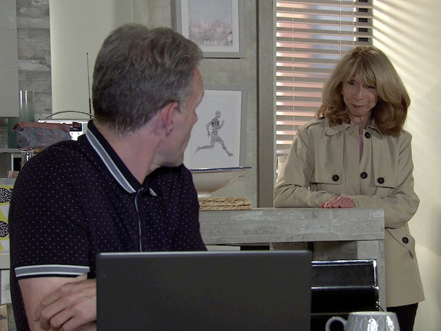 Gail and Nick on Coronation Street's first episode on October 7, 2020