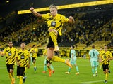 Erling Braut Haaland celebrates scoring Borussia Dortmund's second goal against Borussia Monchengladbach on September 19, 2020