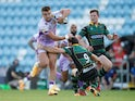 Exeter Chiefs' Henry Slade in action with Northampton Saints' Henry Taylor on September 20, 2020