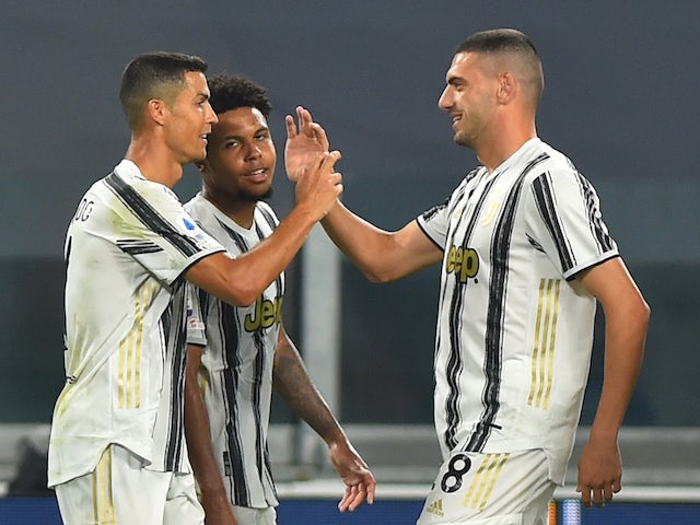 Juventus forward Cristiano Ronaldo celebrates scoring against Sampdoria on September 20, 2020