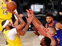 Anthony Davis of the LA Lakers shoots during their playoff match against Denver Nuggets on September 19, 2020