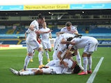 Leeds United players celebrate scoring against Fulham on September 19, 2020