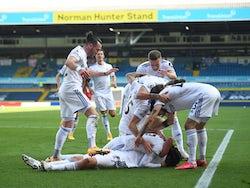 Leeds United players celebrate scoring against Fulham on September 19, 2020