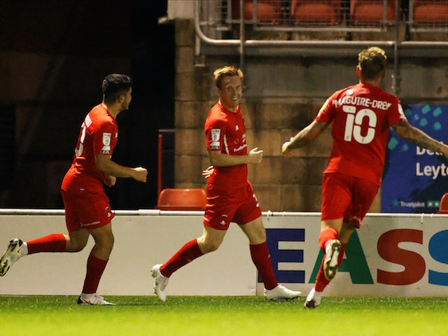 Leyton Orient's Danny Johnson celebrates scoring against Plymouth Argyle in the EFL Cup on September 15, 2020
