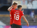 Luton Town duo Jordan Clark and James Collins celebrate on September 5, 2020