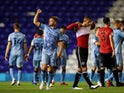 Matt Godden and Coventry City celebrate after beating QPR on September 18, 2020