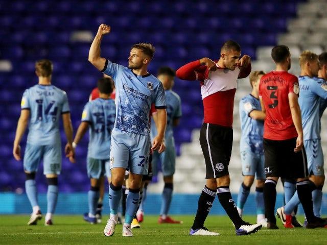 Matt Godden and Coventry City celebrate after beating QPR on September 18, 2020