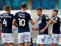 Millwall's Ryan Leonard celebrates with teammates after scoring against Cheltenham Town in the EFL Cup on September 15, 2020