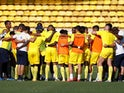 Nantes players in a team huddle before the clash with Monaco on September 13, 2020