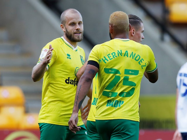 Norwich City's Teemu Pukki celebrates scoring against Preston North End on September 19, 2020