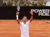 Novak Djokovic celebrates winning in Rome on September 19, 2020