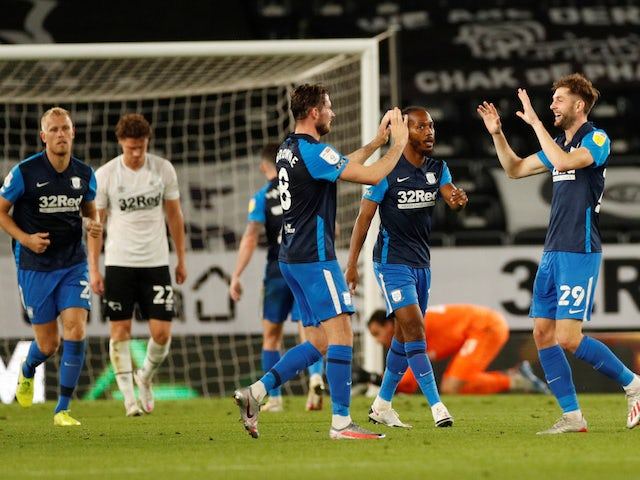 Preston players celebrate scoring against Derby County in the EFL Cup on September 15, 2020