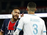 Paris Saint-Germain forward Neymar clashes with Marseille's Alvaro Gonzalez on September 13, 2020
