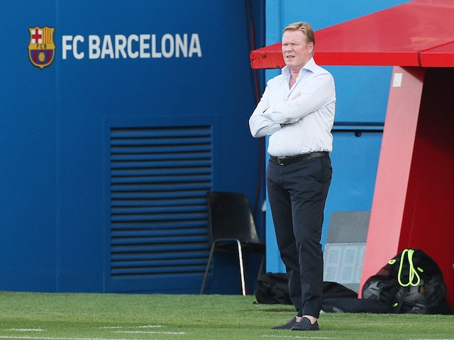 Ronald Koeman pictured in charge of Barcelona during a pre-season friendly on September 16, 2020