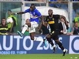 Inter Milan's Romelu Lukaku in action with Sampdoria's Omar Colley in September 2019