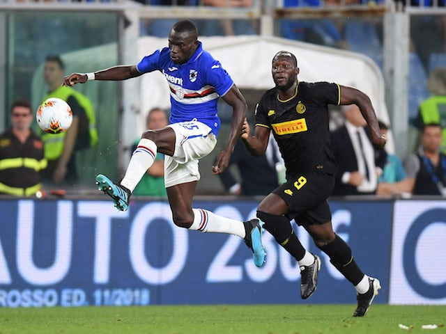 Inter Milan's Romelu Lukaku in action with Sampdoria's Omar Colley in September 2019