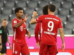 Serge Gnabry celebrates scoring for Bayern Munich against Schalke with Robert Lewandowski on September 18, 2020