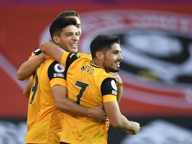 Raul Jimenez celebrates scoring for Wolverhampton Wanderers on September 14, 2020