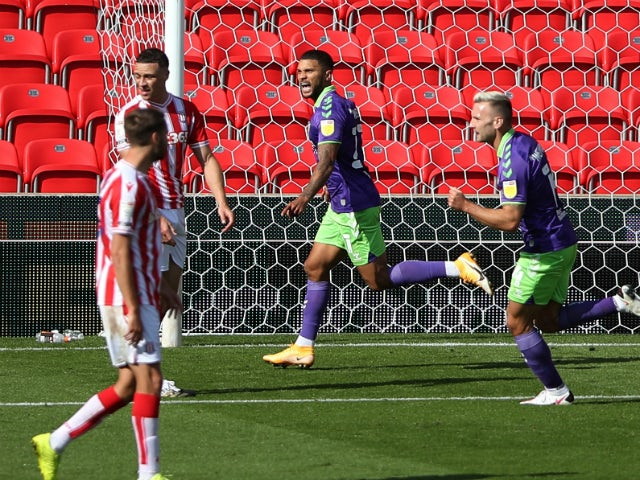 Nahki Wells celebrates scoring for Bristol City against Stoke City on September 20, 2020