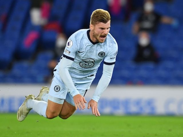 Chelsea striker Timo Werner is fouled for a penalty against Brighton on September 14, 2020
