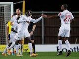 Watford's Ken Sema celebrates scoring against Oxford in the EFl Cup on September 15, 2020