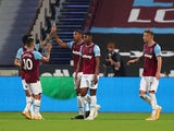West Ham United striker Sebastien Haller pictured with teammates after scoring against Charlton Athletic on September 15, 2020