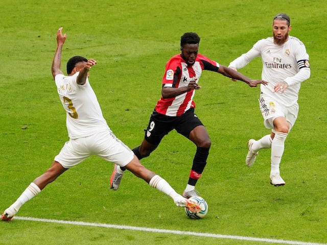 Athletic Bilbao's Inaki Williams in action against Real Madrid's Sergio Ramos in La Liga on July 5, 2020