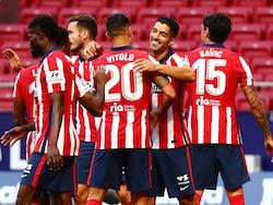 Atletico Madrid striker Luis Suarez celebrates scoring against Granada on his debut on September 27, 2020