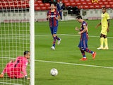 Lionel Messi celebrates scoring for Barcelona against Villarreal on September 27, 2020