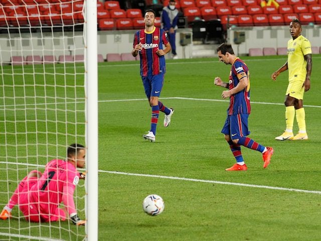 Lionel Messi celebrates scoring for Barcelona against Villarreal on September 27, 2020
