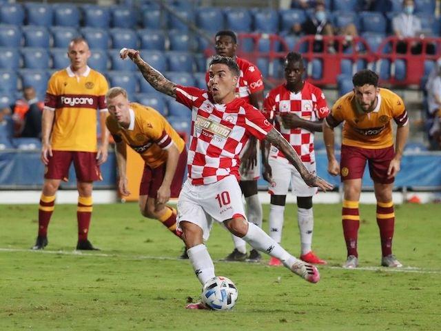 Josue of Hapoel Be'er Sheva scores against Motherwell in the Europa League on September 24, 2020