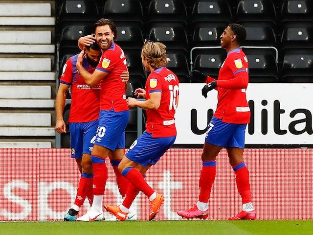 Bradley Johnson celebrates scoring for Blackburn Rovers against Derby on September 26, 2020