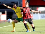 Bournemouth's Chris Mepham battles for the ball against Norwich on September 27, 2020
