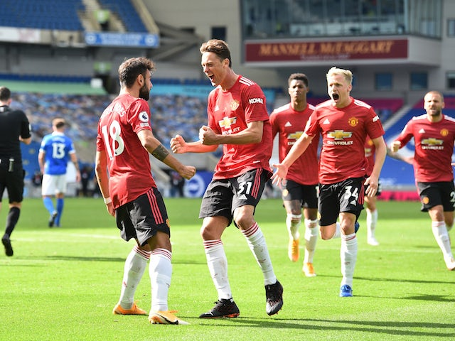 Manchester United's Bruno Fernandes celebrates scoring against Brighton & Hove Albion in the Premier League on September 26, 2020