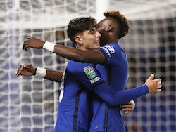 Chelsea's Kai Havertz celebrates scoring his hat-trick goal with Tammy Abraham against Barnsley in the EFL Cup third round on September 23, 2020