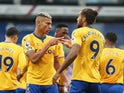 Everton's Richarlison celebrates with Dominic Calvert-Lewin against Crystal Palace on September 26, 2020