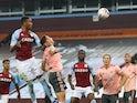 Ezri Konsa scores the winner for Aston Villa against Sheffield United in the Premier League on September 21, 2020
