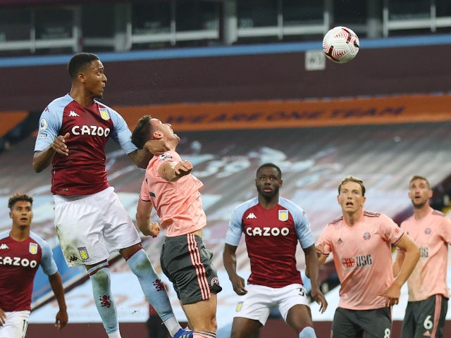 Ezri Konsa scores the winner for Aston Villa against Sheffield United in the Premier League on September 21, 2020