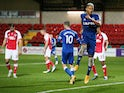 Everton's Richarlison celebrates scoring against Fleetwood Town in the EFL Cup on September 23, 2020
