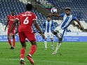 Huddersfield Town's Fraizer Campbell scores against Nottingham Forest on September 25, 2020