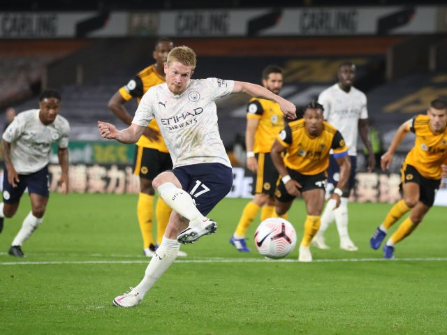 Kevin De Bruyne scores for Manchester City against Wolverhampton Wanderers on September 21, 2020