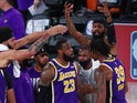 LA Lakers players celebrate reaching the NBA Finals on September 27, 2020