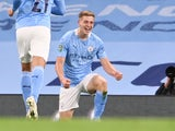 Liam Delap celebrates scoring on his debut for Manchester City on September 24, 2020