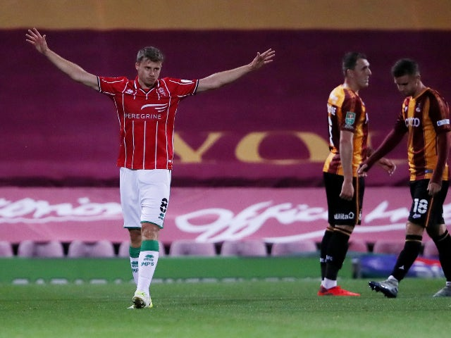Lincoln City's James Jones celebrates scoring against Bradford City in September 2020
