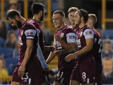 Burnley's Josh Brownhill celebrates with teammates after scoring against Millwall in the EFL Cup third round on September 23, 2020