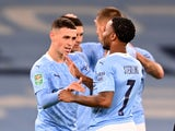 Manchester City midfielder Phil Foden celebrates with teammates after scoring in the EFL Cup clash with Bournemouth on September 24, 2020