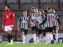 Newcastle United's Joelinton celebrates scoring against Morecambe in the EFL Cup on September 23, 2020